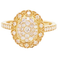 Antique Inspired Oval Pave 1/2 Carat Diamond Engagement Ring in Yellow Gold