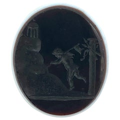 Antique Intaglio Amor Climbs The Temple of Love Sardonx
