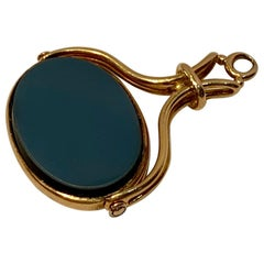 Antique Intaglio Gold Spinner Fob Pendant Un-Carved Carnelian and Black Agate