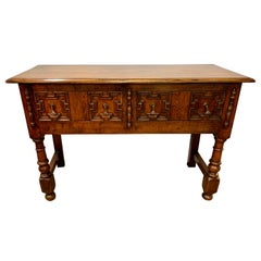 Antique Intricately Carved Oak Console Table Server Buffet Bar Credenza