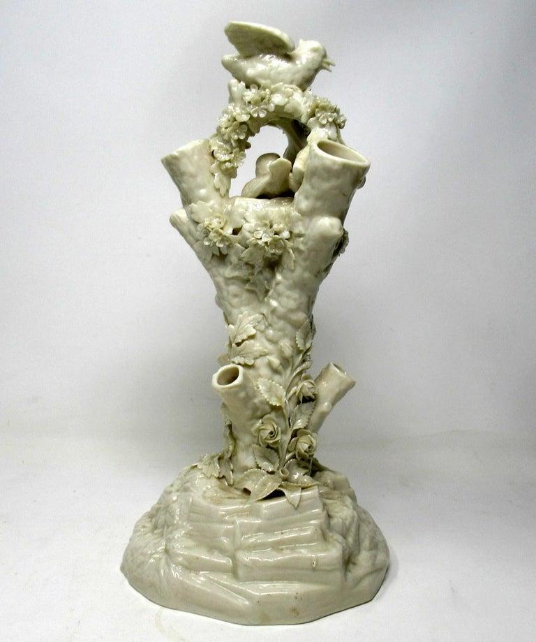 19th Century Antique Irish Belleek Bird Nest Tree Stump Vase Centerpiece Black Mark Ireland For Sale