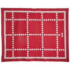Antique Irish Chain Nine Patch Quilt, USA, 1890s