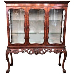 Antique Irish Chippendale Carved Walnut Display Cabinet, circa 1880