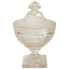 Antique Irish Cut Crystal Bowl with Lid