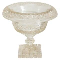 Antique Irish Diamond Cut Clear Cut Crystal Bowl with Rolled Edge