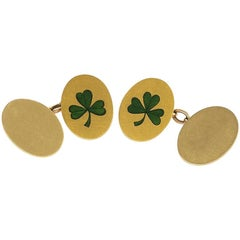 Antique Irish Double Sided Gold and Enamel 'Shamrock' Cuff Links