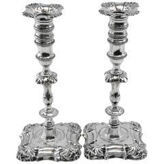 Antique Irish George II Georgian Solid Silver Candlesticks / Candleholders, 1755