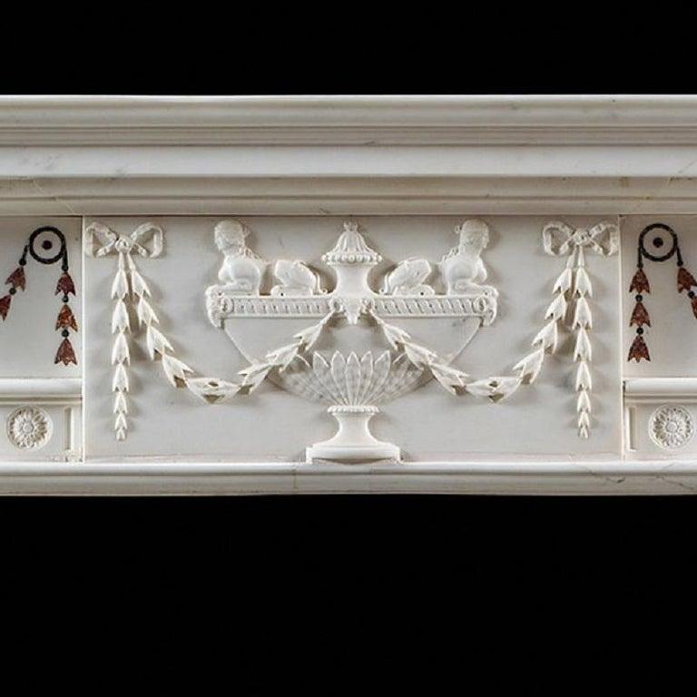Antique Irish Georgian Iii White Marble Fireplace Mantel