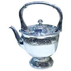 Antique Irish Silver Teapot with Celtic Tracery, circa 1900s