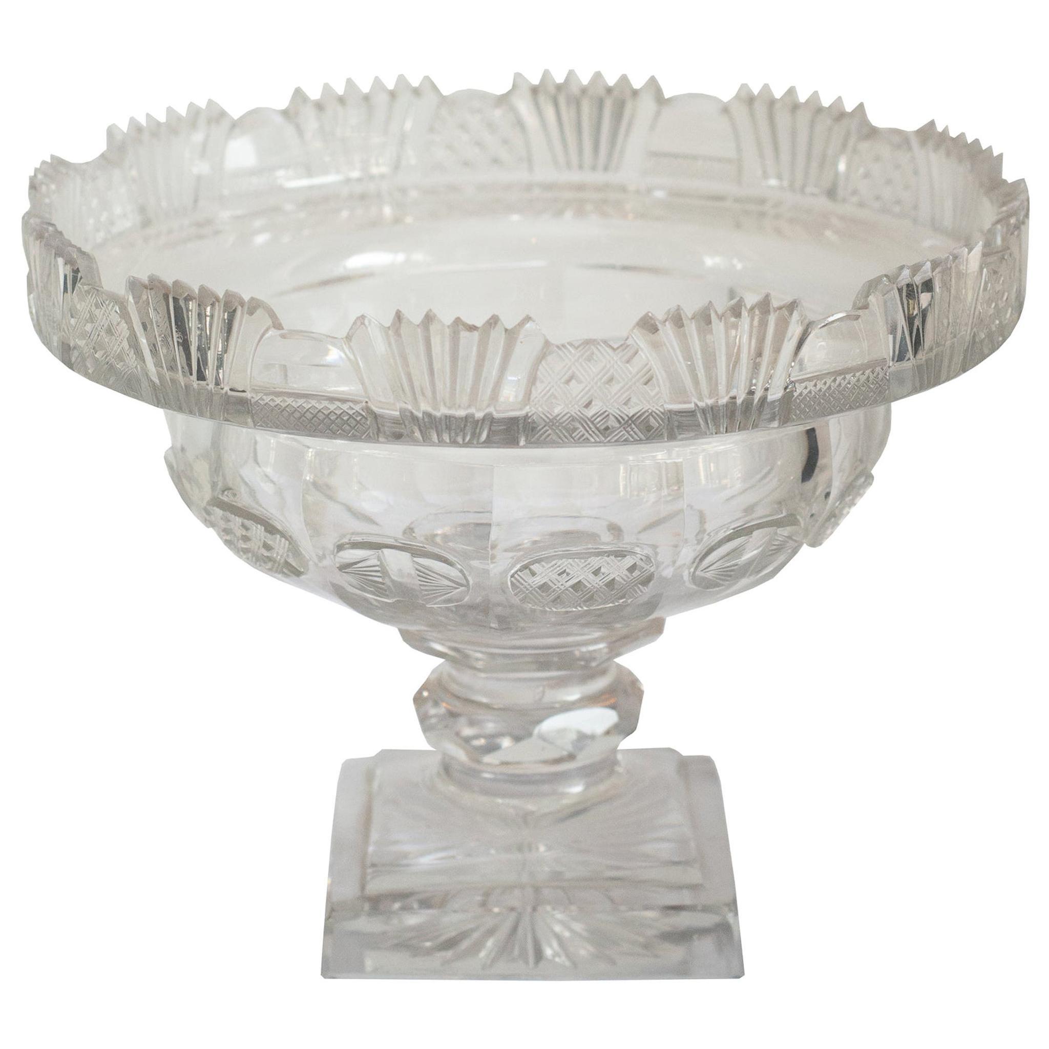 Antique Irish Small Clear Cut Crystal Bowl