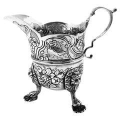 Antique Irish Sterling Silver Cream Jug / Milk Jug circa 1770 Chased