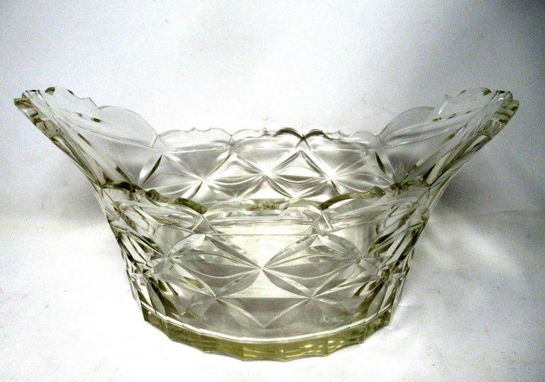19th Century Antique Irish Tipperary Waterford Glass Cut Crystal Bowl Georgian Centerpiece For Sale