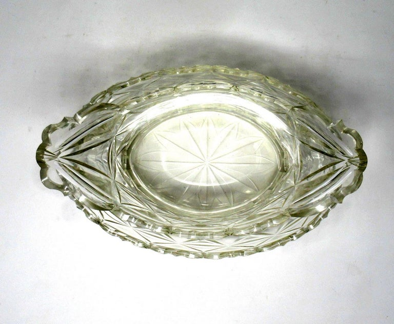Cut Glass Antique Irish Tipperary Waterford Glass Cut Crystal Bowl Georgian Centerpiece For Sale