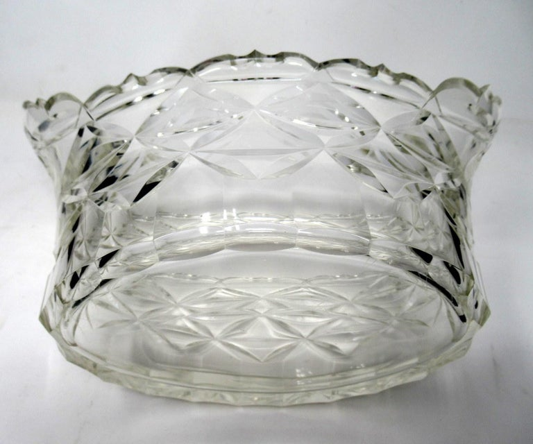 Antique Irish Tipperary Waterford Glass Cut Crystal Bowl Georgian Centerpiece For Sale 1
