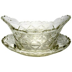 Antique Irish Tipperary Waterford Glass Cut Crystal Bowl Georgian Centerpiece
