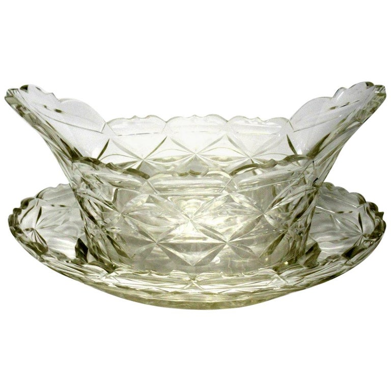 Antique Irish Tipperary Waterford Glass Cut Crystal Bowl Georgian Centerpiece For Sale