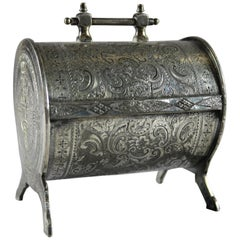 Antique Irish Victorian Silver Plate Felt Lined & Footed Casket, circa 1880