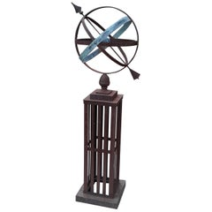 Antique Iron and Bronze Armillary Garden Sculpture, Early 20th Century