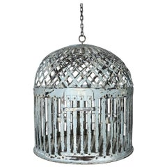 Antique Iron Bird Cage with Lattice-Work Dome
