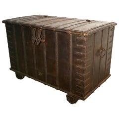 Antique Iron Bound Hardwood Merchants Chest with Hidden Compartments