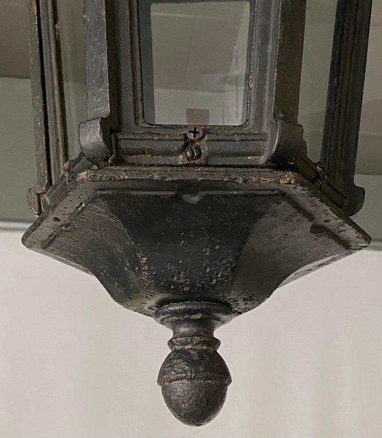 European Antique Iron Exterior or Interior Hanging Lantern For Sale