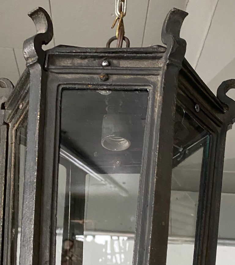 Forged Antique Iron Exterior or Interior Hanging Lantern For Sale