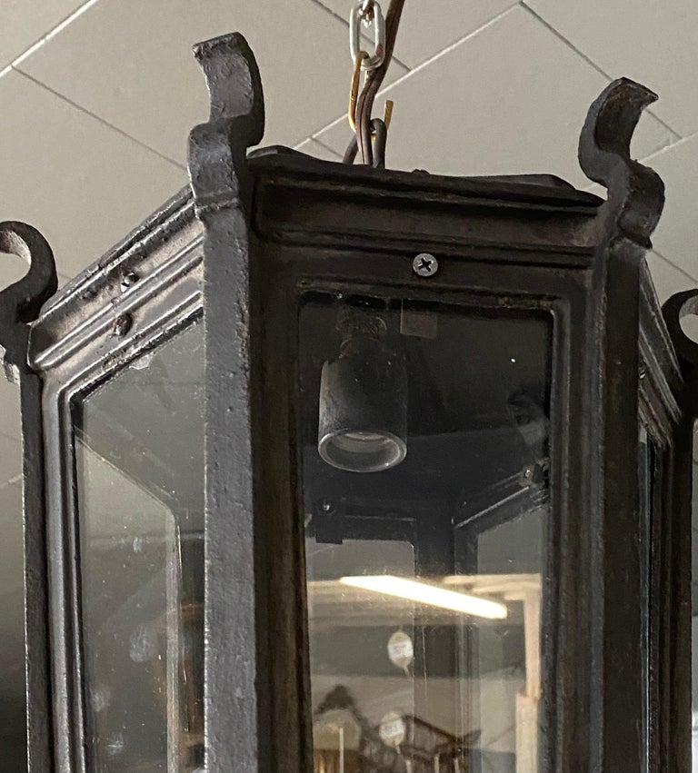 Antique Iron Exterior or Interior Hanging Lantern In Good Condition For Sale In Great Barrington, MA