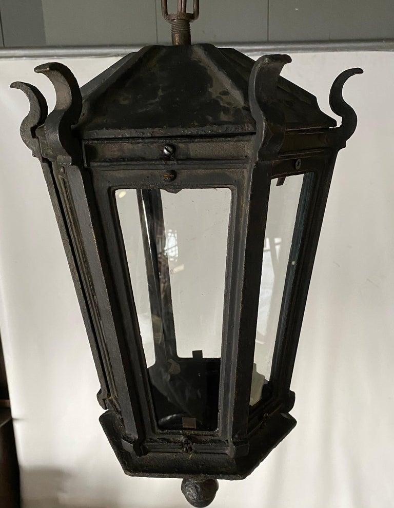 19th Century Antique Iron Exterior or Interior Hanging Lantern For Sale