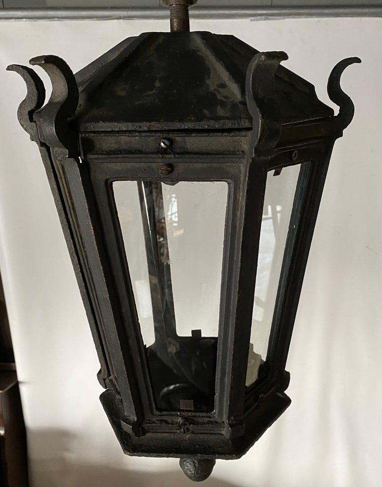 Antique Iron Exterior or Interior Hanging Lantern For Sale 1
