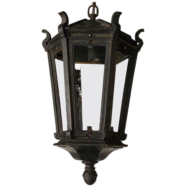 Antique Iron Exterior or Interior Hanging Lantern For Sale