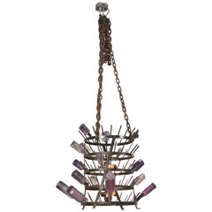 Antique Iron French Bottle Rack Chandelier