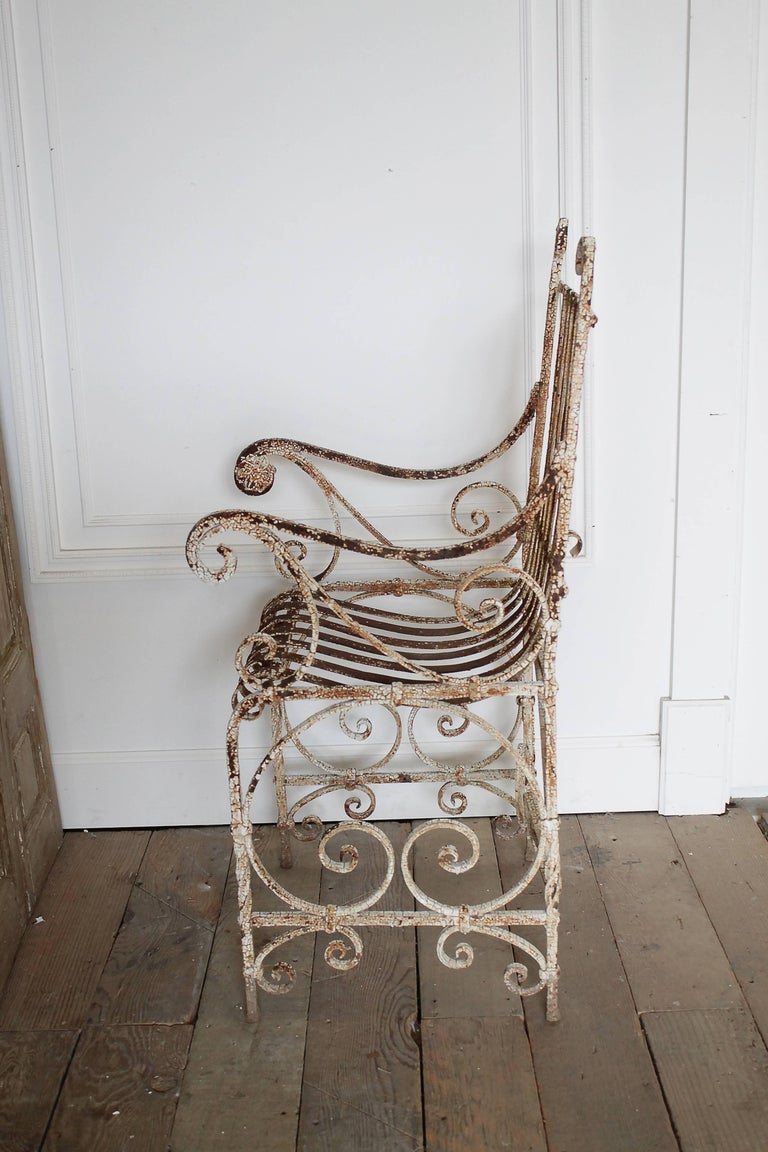 Antique Iron Garden Armchair For Sale 1