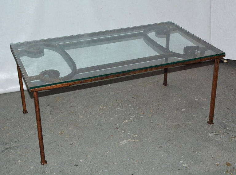 Stylish antique iron gate coffee table with a 3/8