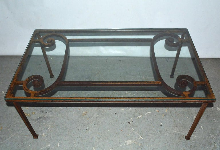 Tempered Antique Iron Garden Gate Coffee Table For Sale