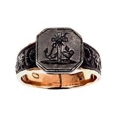 Antique Iron Gold Signet Ring Faith Hope Charity