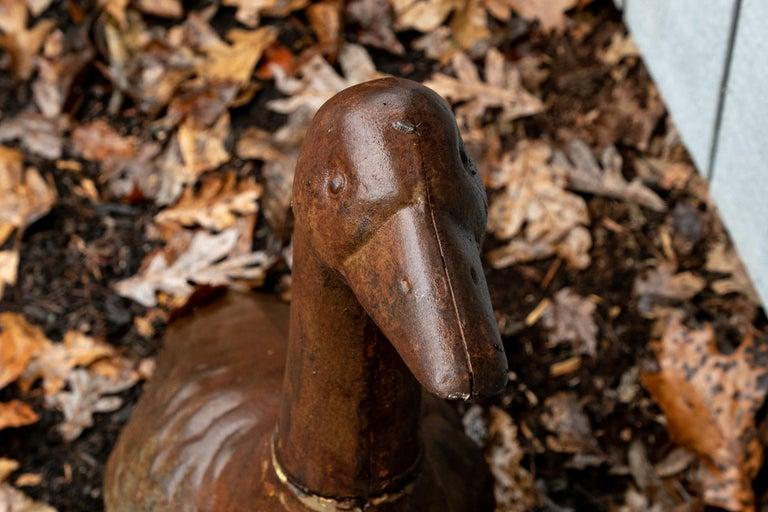 Folk Art Antique Iron Goose Garden Figure For Sale