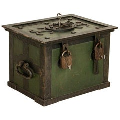 Antique Iron Lock Box or Safe with Original Padlocks and Keys, Unique Side Table