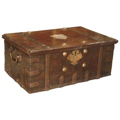 Antique Iron Mounted Mahogany Trunk with Copper Handles, 19th Century