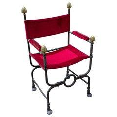 Antique Iron Savonarola Chair with Red Velvet Upholstery