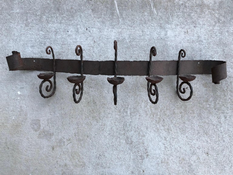 Spanish Colonial Antique Iron Wall Sconce For Sale