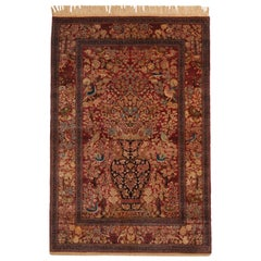 Antique Isfahan Burgundy and Golden-Beige Wool Persian Rug