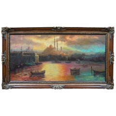 Antique Isfahan Iran Cityscape Painting Impressionist Mosque Skyline Framed