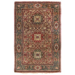 Antique Isfahan Red and Golden Beige Wool Persian Rug