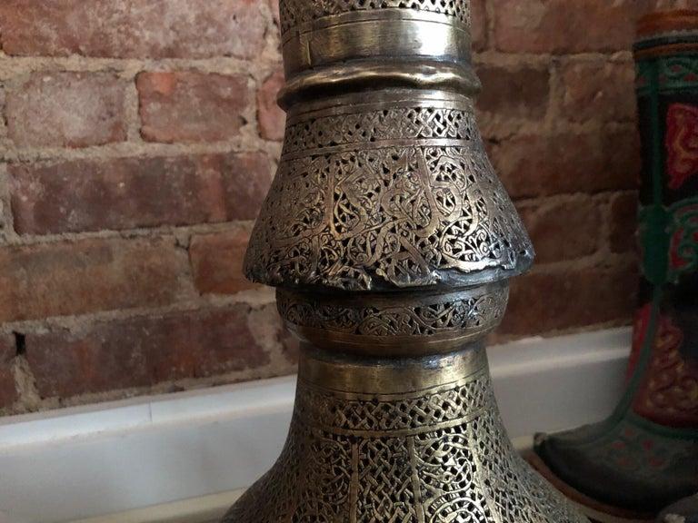 Antique Moorish Brass Candleholder Floor Lamp For Sale 3