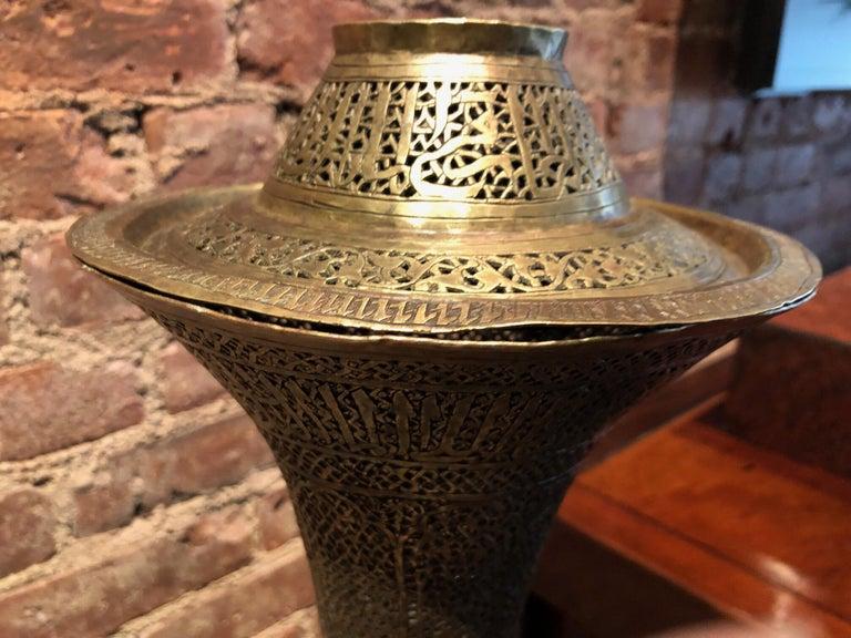 Antique Moorish Brass Candleholder Floor Lamp For Sale 6