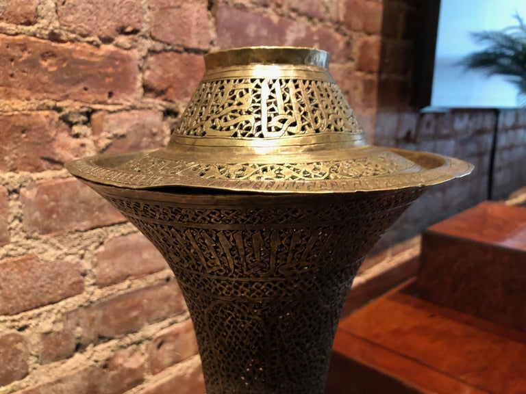 Antique Moorish Brass Candleholder Floor Lamp For Sale 7