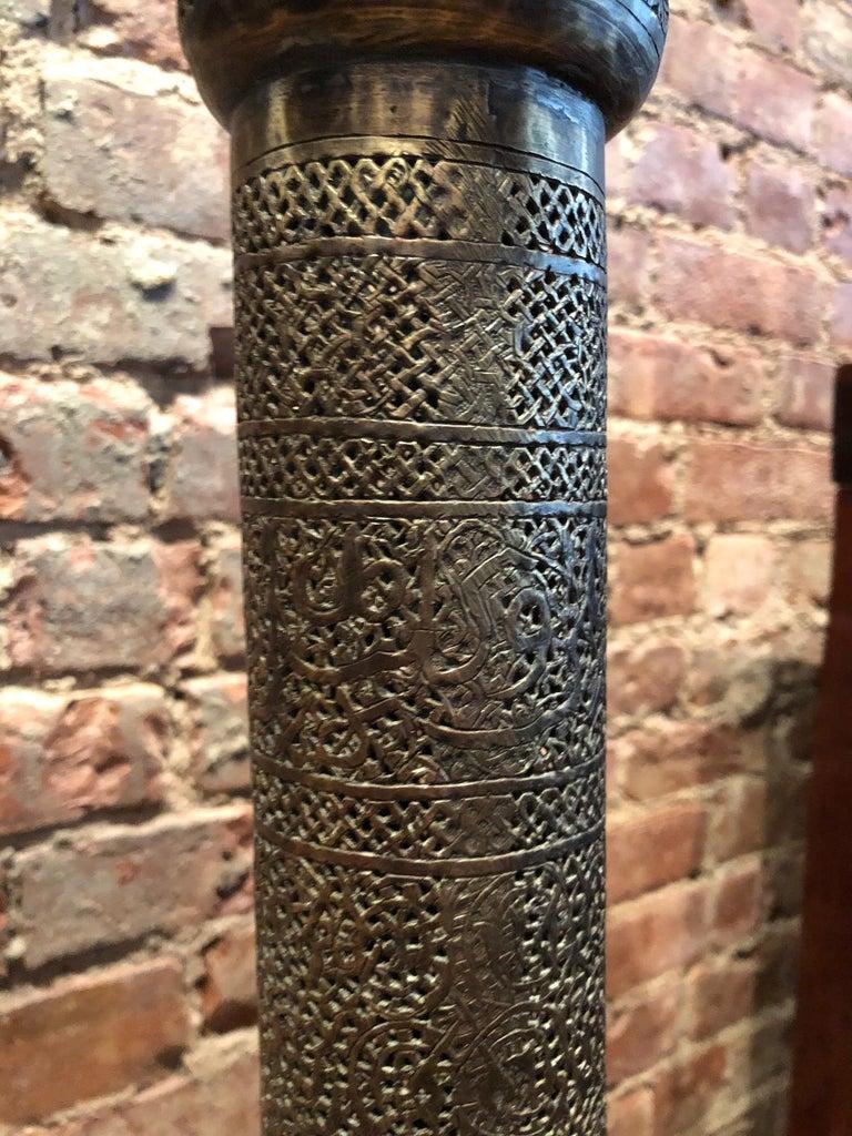 Antique Moorish Brass Candleholder Floor Lamp For Sale 8