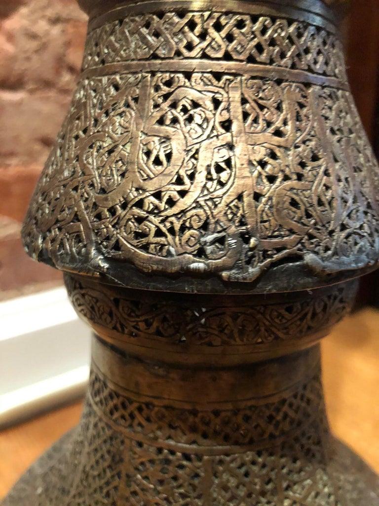 Antique Moorish Brass Candleholder Floor Lamp For Sale 10