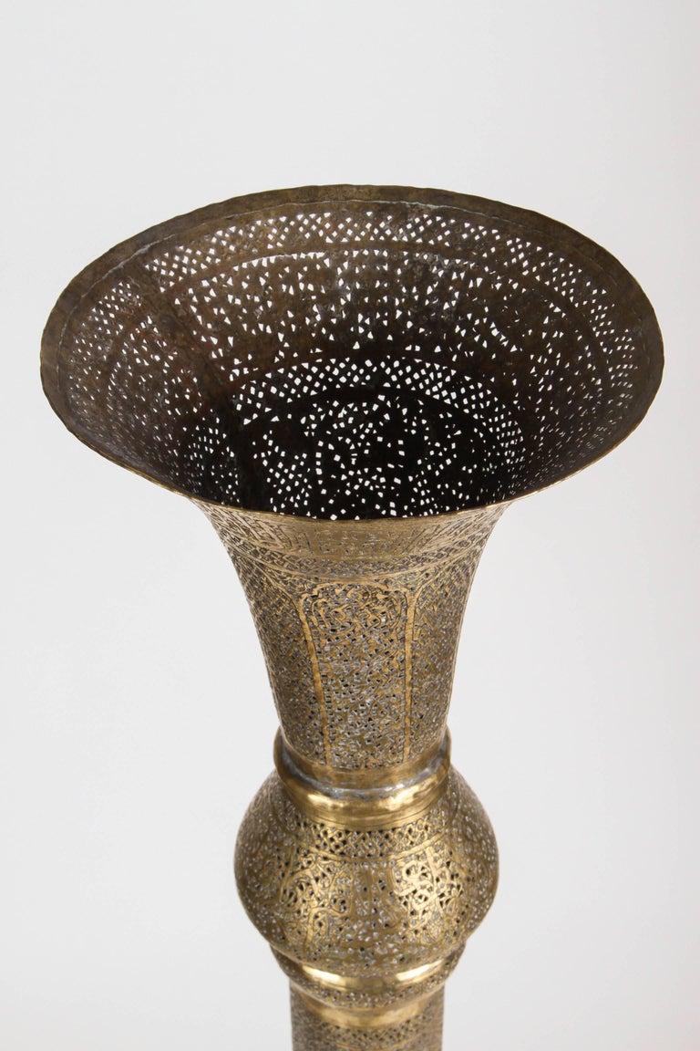 Syrian Antique Moorish Brass Candleholder Floor Lamp For Sale
