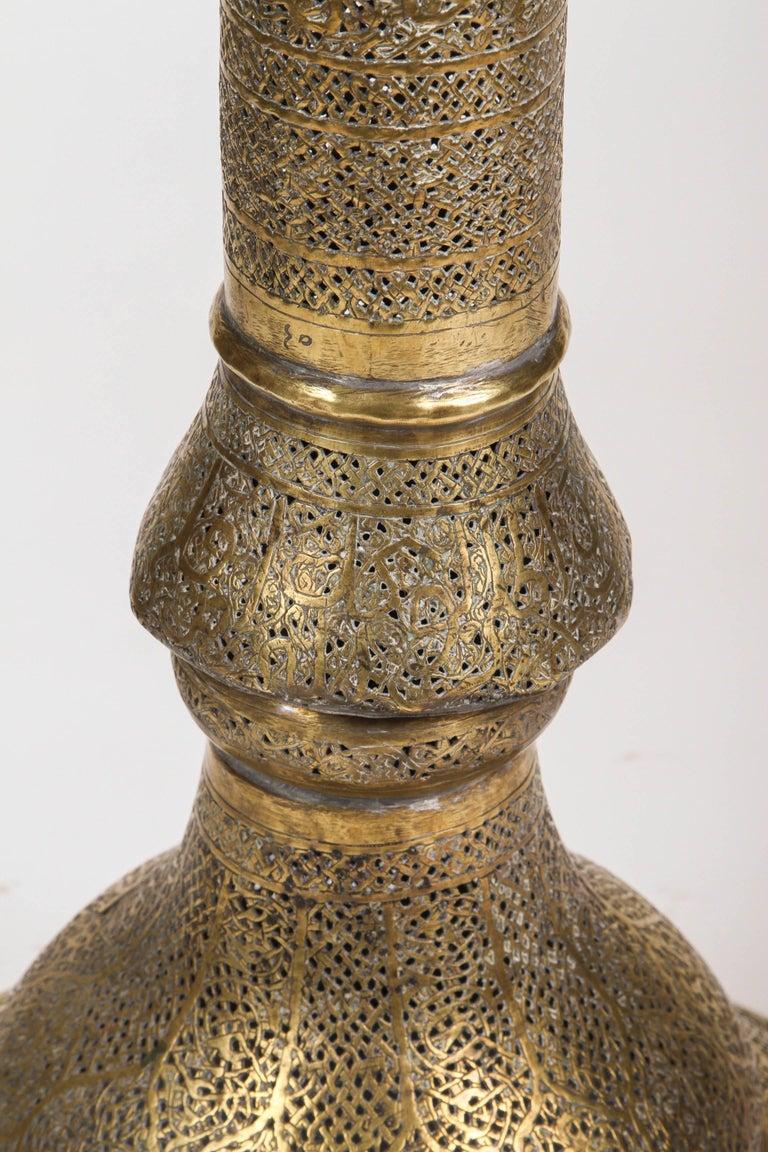 19th Century Antique Moorish Brass Candleholder Floor Lamp For Sale